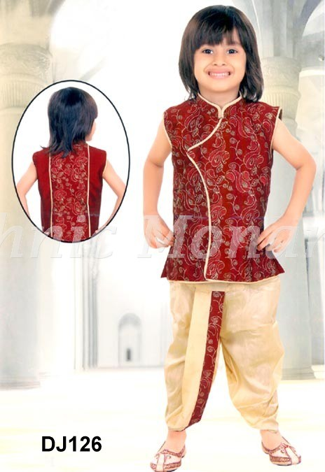 Red Brocade Readymade Angrakha Style Jacket