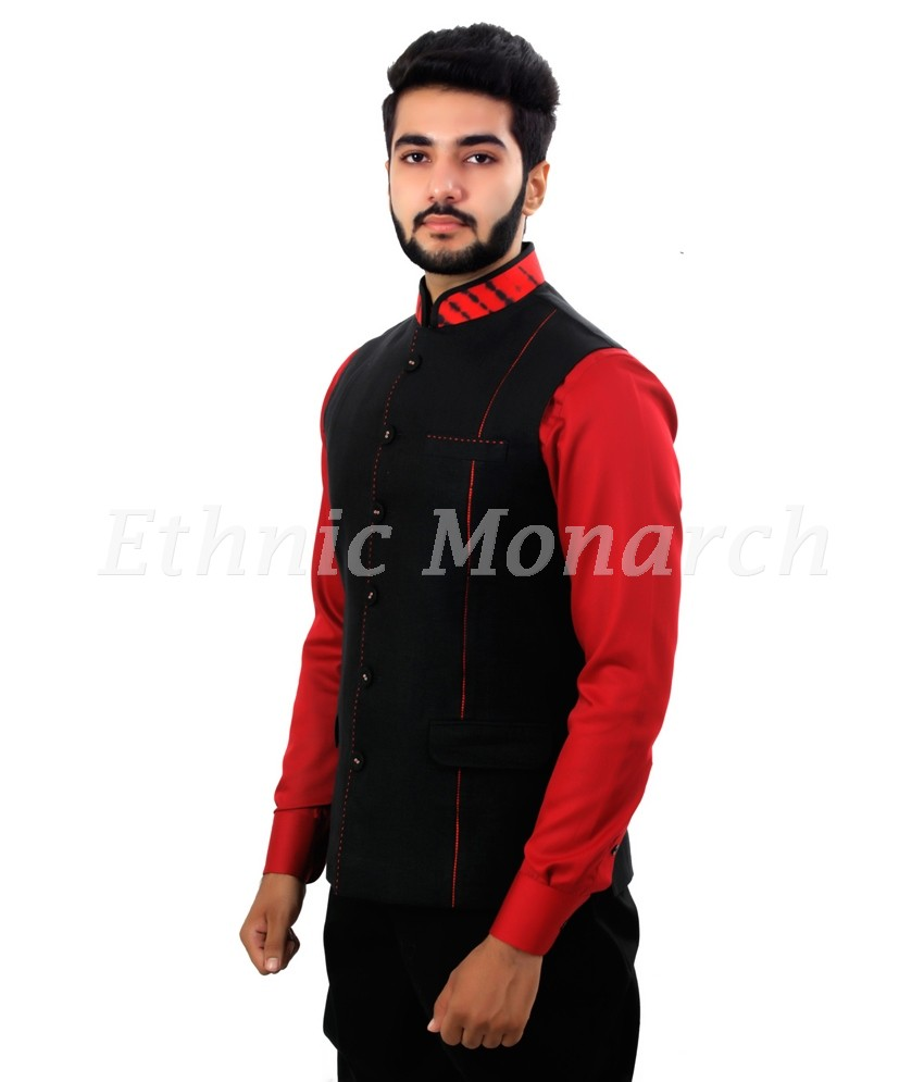 Black Linen Nehru Jacket
