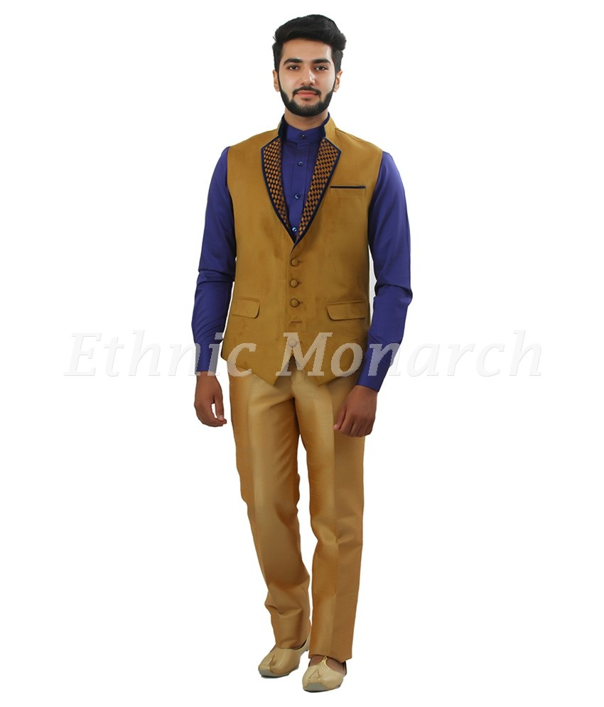 Beige Color Designer Nehru Jacket Full View