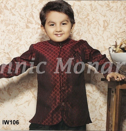Maroon Indo-Western with Breeches Pyjama.