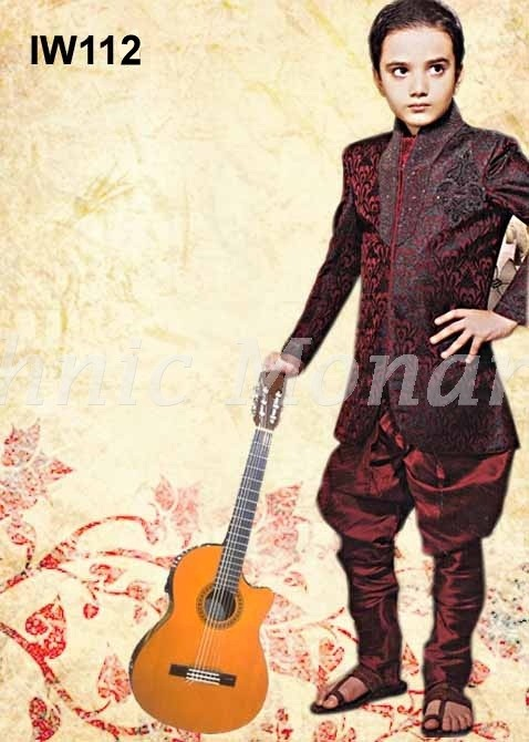 Maroon High Neck Brocade Indo-Western with Breeches
