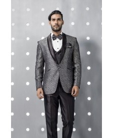 Stylish Single Button Grey Tuxedo