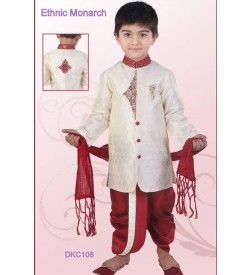 Off White And Maroon Brocade Dhoti Kurta