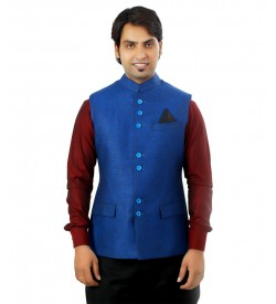 Linen Nehru Jacket In Dark Blue Color