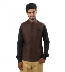 Linen Nehru Jacket In Brown Color