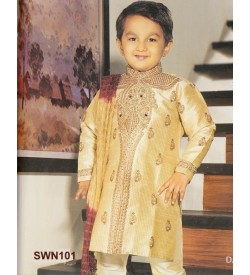 Dark Cream  Dupion Silk Sherwani