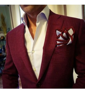 Antique Ruby Color Linen Blazer