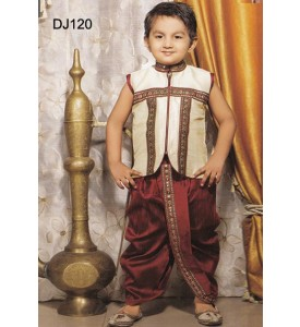 Cream Maroon Brocade Readymade Dhoti- Jacket