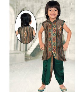 Green Brocade Readymade Dhoti Jacket