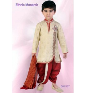 Cream And Maroon Brocade Silk Dhoti Kurta