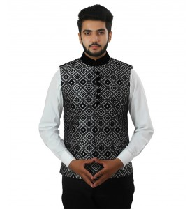 Designer Black And White Nehru Jacket
