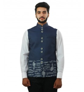 Blue Digital Print Nehru Jacket
