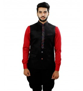 Black Nehru Jacket With Colorful Front Lapel