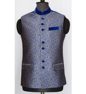 Print Velvet Combination Nehru Jacket