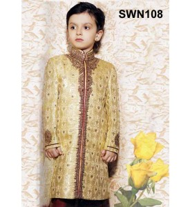 Dark Cream Brocade Silk Sherwani