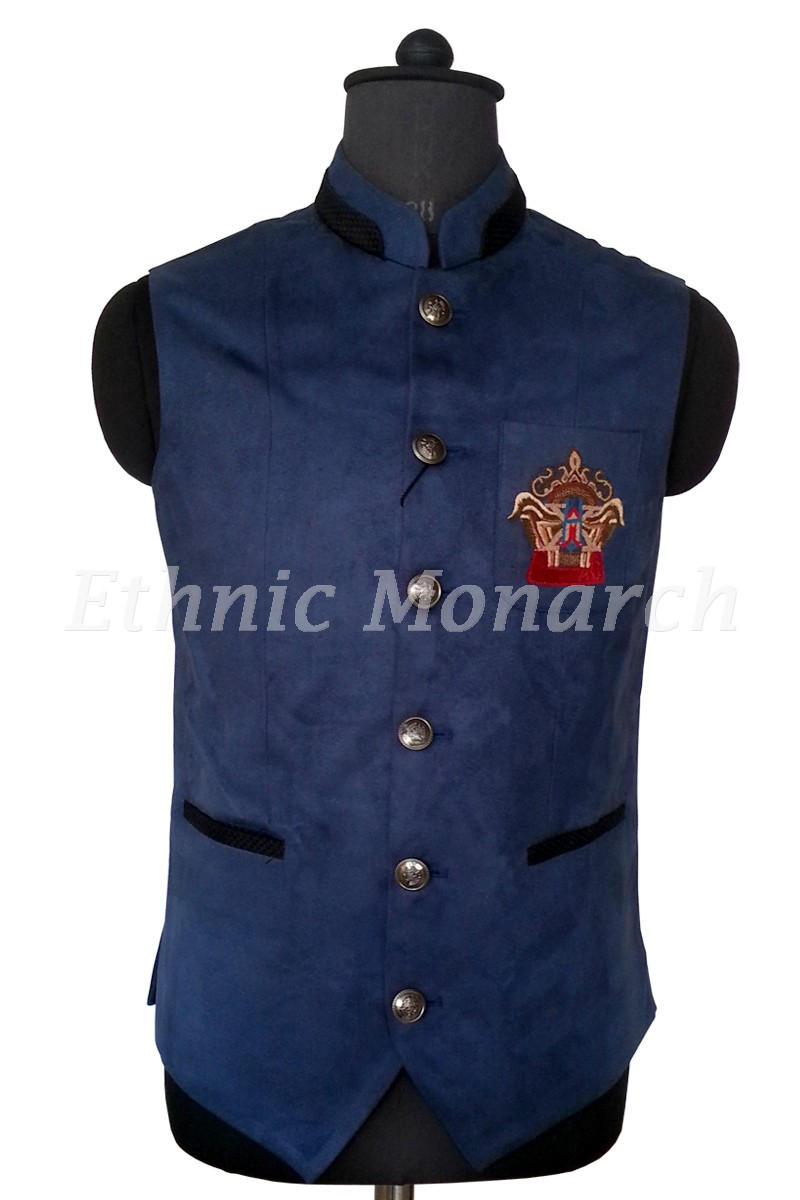 Blue Nehru Jacket With Motif