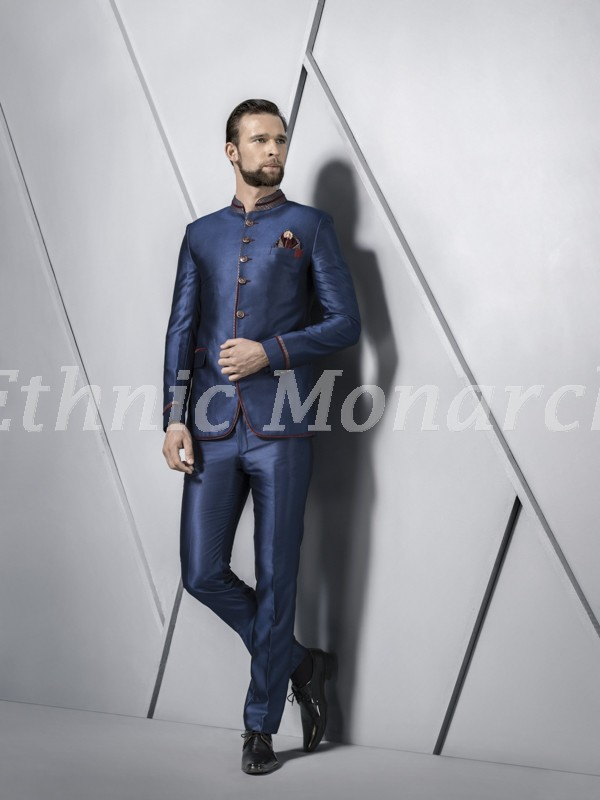 Blue Jodhpuri With Matching Trouser.