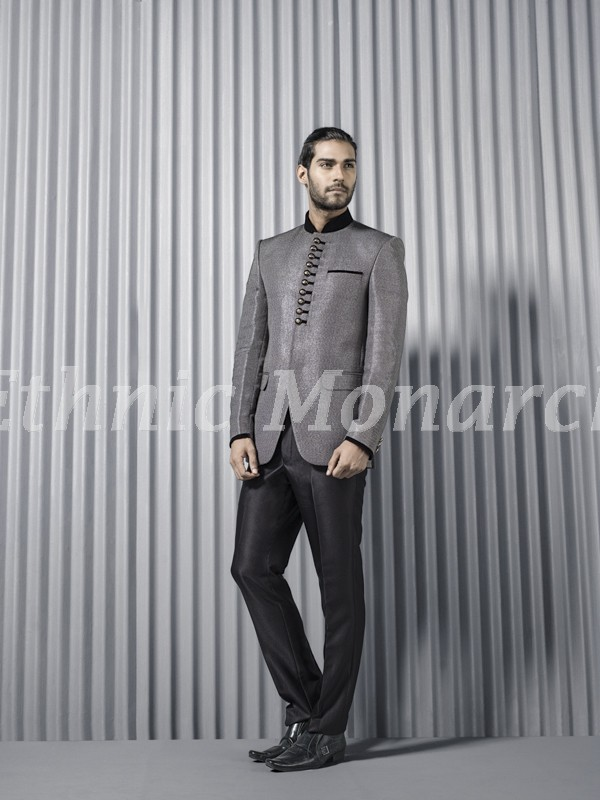 Light  Grey PartyWear Jodpuri Suit