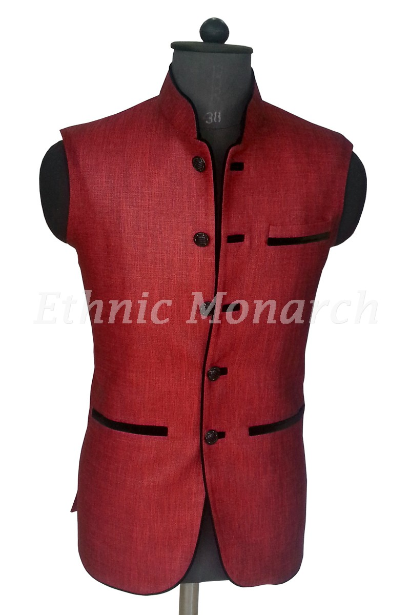 Stylish Red Nehru Jacket