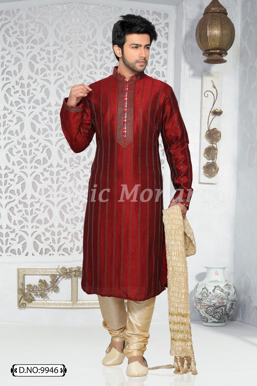 Marron Kurta With Zari Dupian Fabric