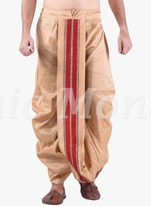 Beige Dhoti With Bold Red Strip