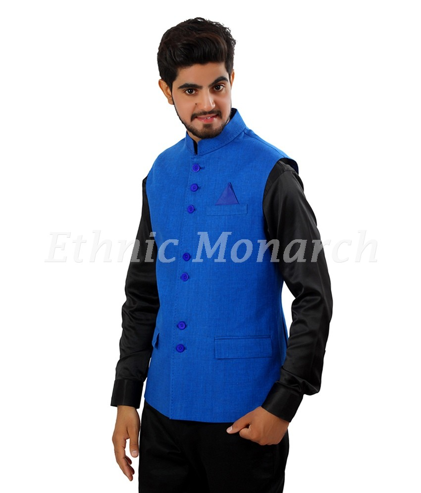 Linen Nehru Jacket In Blue Color