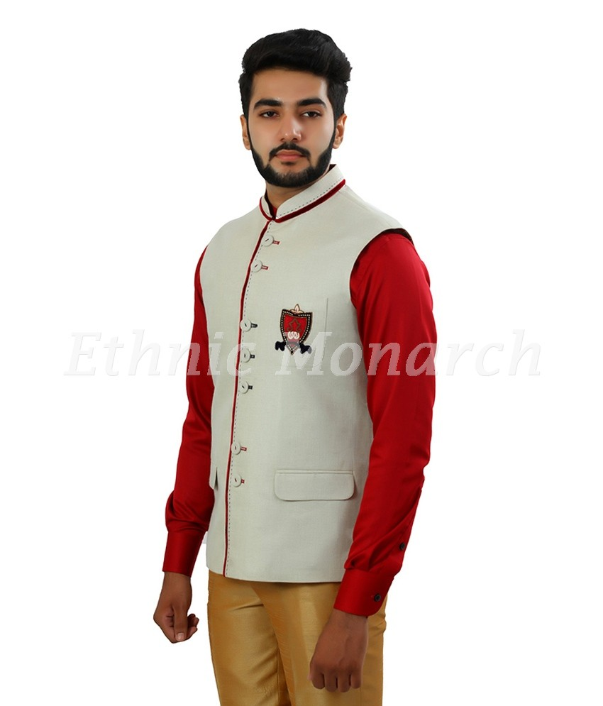 Cream Nehru Jacket With Motif On Pocket