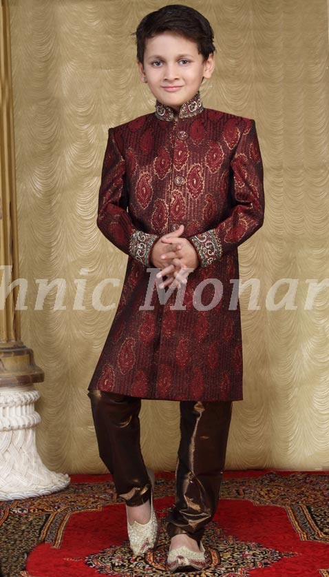 Maroon Jacquard  Indo Western Suit