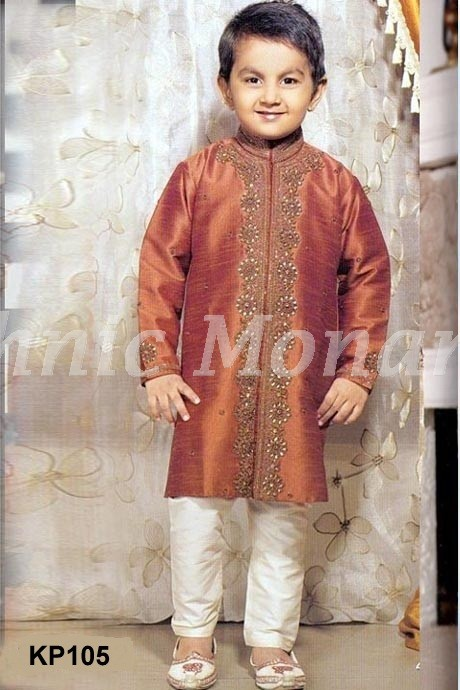 Golden Brown Dupion Readymade  Kurta