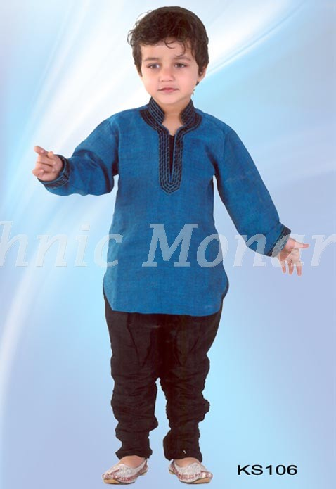 Blue Cotton Linen Kurta with Salwar.