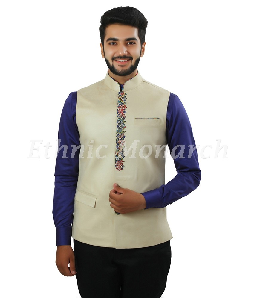 Light Colour Nehru Jacket With Colorful Front Lapel.