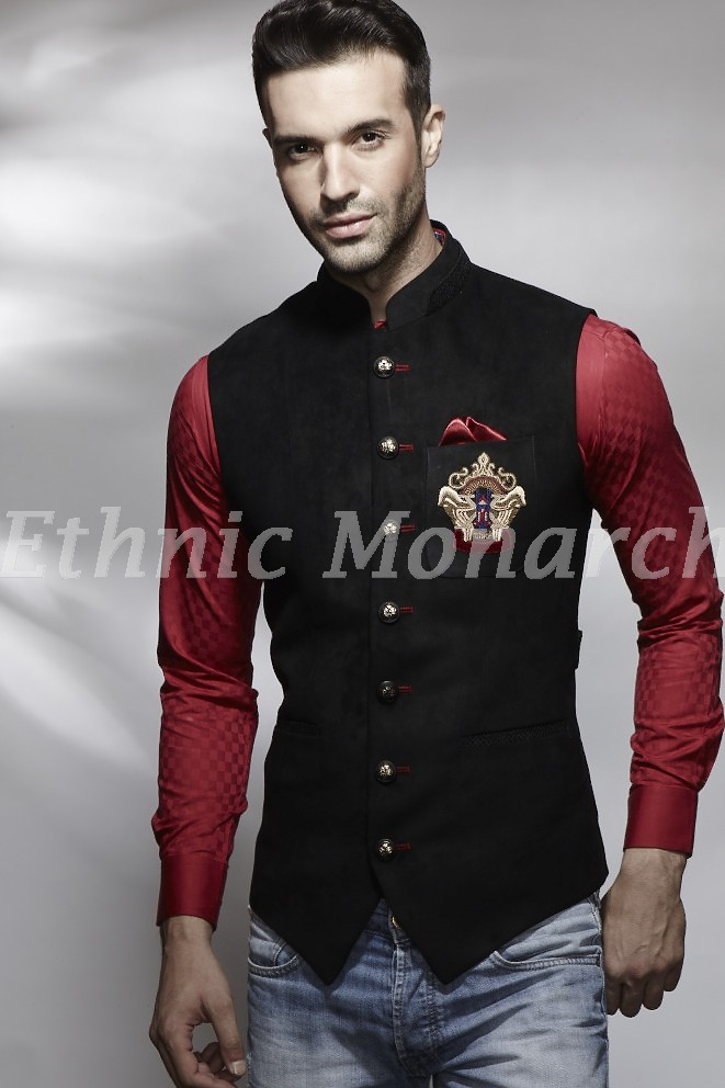 Black  Nehru Jacket With Motif