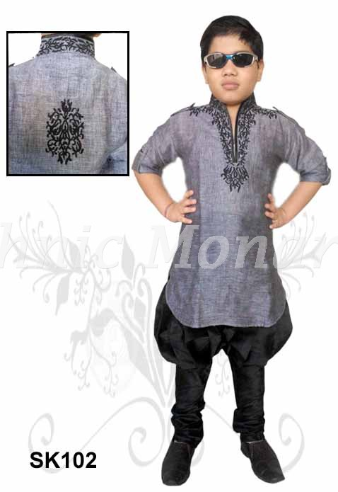 Grey Color High Neck Kurta