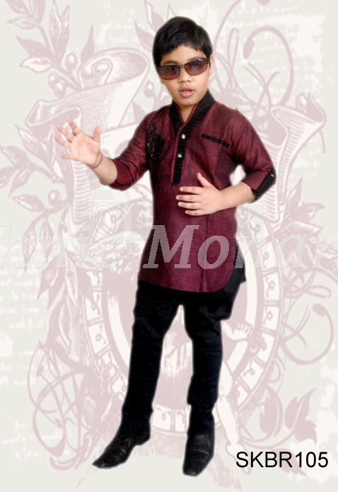 Maroon  Color High Neck Kurta with Breeches