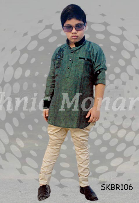 Green And Beige Royal Ethnic Combo Short Kurta And Breeches