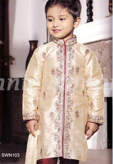 Cream Dupion Silk Sherwani With  Maroon Pyjama