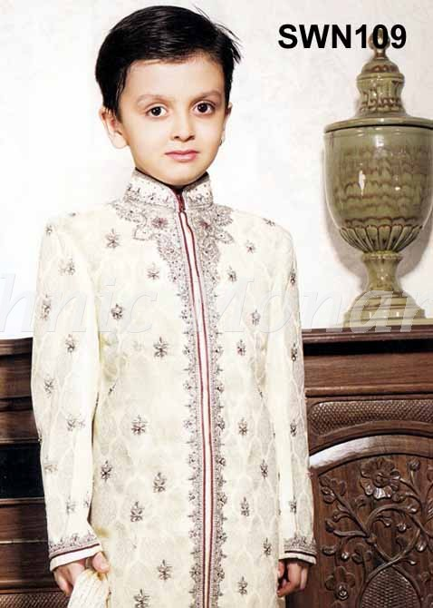 Light Cream Brocade Silk Sherwani