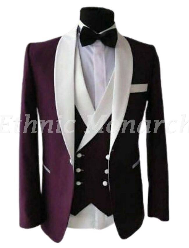 Purple Velvet Blazer With Waist Coat