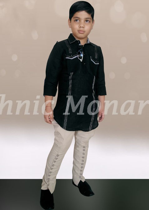 Black Color Hunting Kurta in Linen