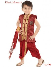 Maroon Brocade Readymade Dhoti Jacket