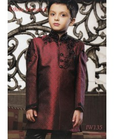 Maroon Brocade Indo Western With Trouser
