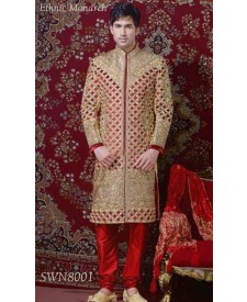 Golden Maroon Cut Work Sherwani