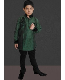 Green  Color Jodhpuri Neck Kurta