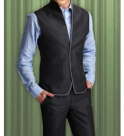 High Neck Waist Jacket With Trouser