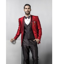 Modish Red Five Piece Tuxedo