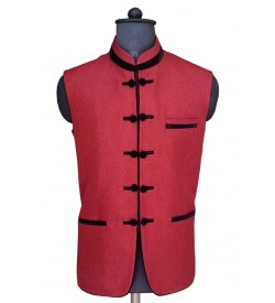 Artistic Red Nehru Jacket