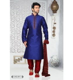 Blue Self Stripes Dupion Silk Kurta