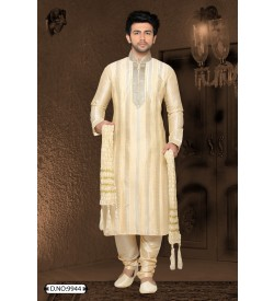 Light Colour Kurta With Self Srtipes