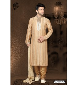 Beige Kurta With Silver Collar And Neck