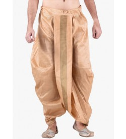 Beige Dhoti With Golden Strip